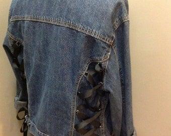 Upcycled Bohemian Embellished Bling Rivet Corset  Denim Jacket Size Medium