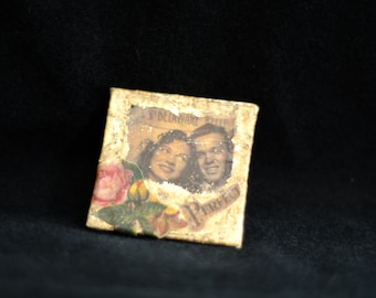 Mini original mixed media and gold flakes on canvas; Old Time Photo; handmade; refrigerator magnet