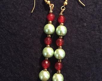 Stunning sea foam green pearl and burnt orange glass bead dangle earrings
