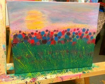 Abstract Wildflower Painting