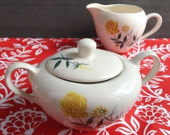 Vintage creamer and sugar bowl - Antique ceramic made in Japan - Yellow rose set hand painted in Japan