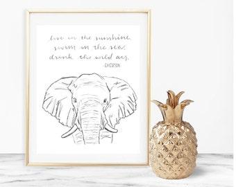 EMERSON quote instant download - elephant - DIY home woodlands safari animals rustic nursery room decor printable gift sunshine sea wild air