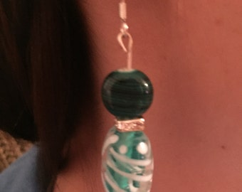 Teal and white swirl earrings