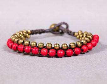 Beaded Bracelet-Coral Gold Beads Bracelet B83