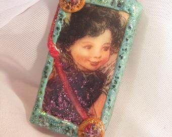 Altered Domino Pendant~Happy Fairy