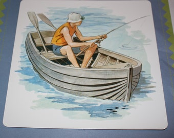 VintageDouble-Sided Large Flash Card - Boy or Girl Fishing on Boat Print - Fishing Boat Print - 1960's