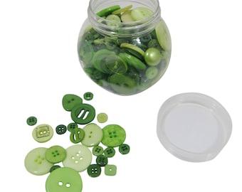 Green 120g Jar of Mixed Buttons