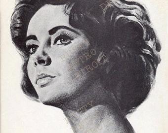 Vintage Entertainment Print: Elizabeth Taylor Print from 1962 - Butterfield 8