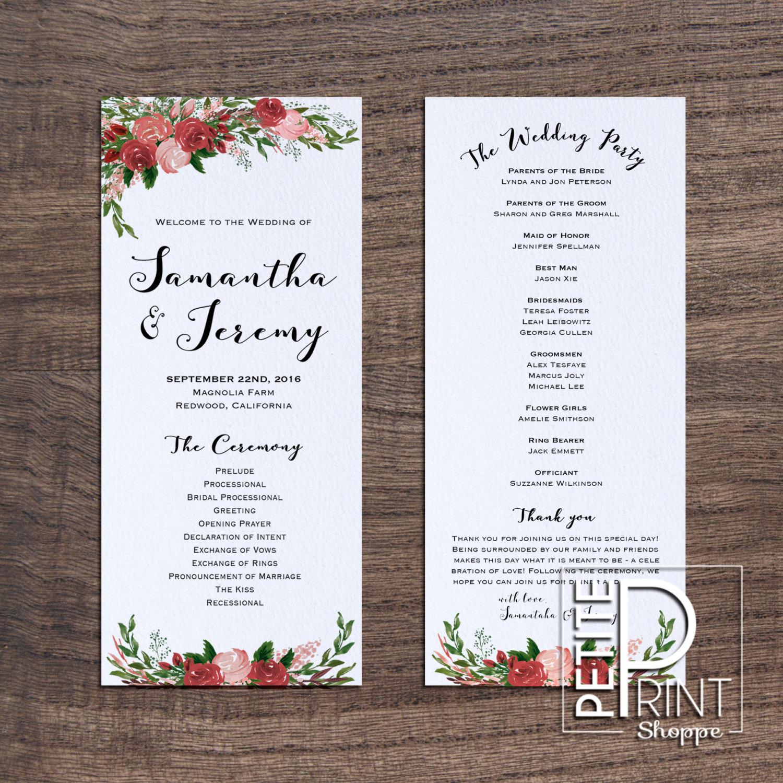 Floral Wedding Program Printable Wedding By PetitePrintShoppe