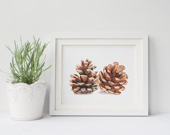 Pinecone print of watercolor painting PC205DL, botanical art, woodland print, Christmas wall decor, downloadable pinecone, pine cone print