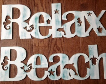 Coastal beach decor signs