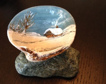 Winter Wonderland - Hand Painted Sea Shell w/Rock