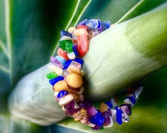 Triple Strand Multi Coloured Crystal Bead Bracelet