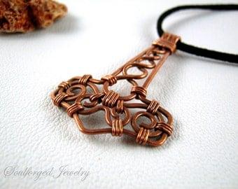 Hammered copper wire Mjolnir pendant