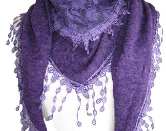 Knitted triangle scarf shawl wrap cape teardrop tassels and floral panel - purple