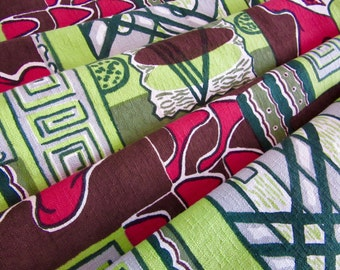 "FAB '50s TIKI FABRIC barkcloth era fabric ""Delhi"" Indian style upholstery '60s mid century modern tropical"