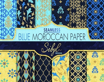 60% OFF SALE, Seamless Moroccan Paper, Digital Ethnic Moroccan Patterns, Blue Moroccan Glitter, Oriental Digital Paper, Geometric Paper