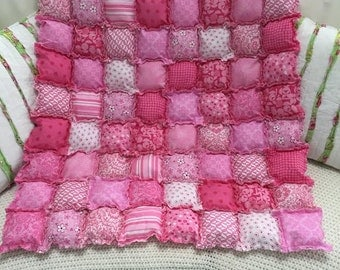 "Pretty in Pink ""Rag Puff Baby Quilt"""