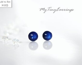 4mm Mini Stud Blue Azure Earrings Round Tiny Epoxy Resin Gift for Her - Stainless Steel Posts 103