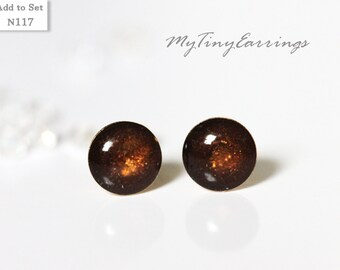 6mm Stud Earrings Brown Hickory-Tawny Tiny Round Epoxy Resin Earrings Mini Gift for Him - Gold Plated Stainless Steel Posts 117