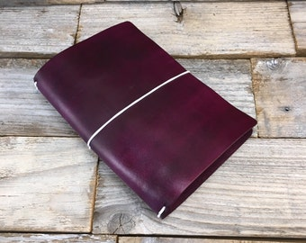 Purple fauxdori . top grain leather traveler's notebook . hand dyed . midori style . leather journal . B6 Slim . Hobonichi . planner
