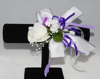 Purple & White Rose Corsage