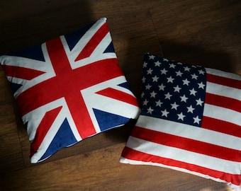 SALE! Union Jack /USA Flag Pillow Cover