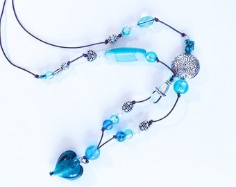 Seaglass and glass necklace «Love is Blue»