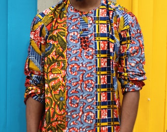 African Top - Hamed Top - Colourful Shirt - Pullover - Festival Shirt - African Clothing - Wax Shirt - Wax Top - African Shirt - Tshirt