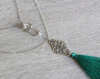 Layered necklace with crystal gem and tassel
