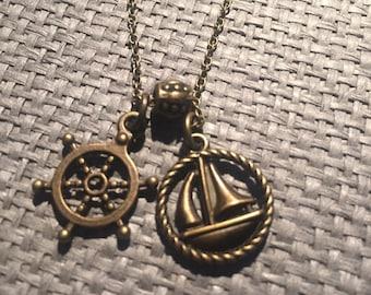 chain with pendant, anchor, sailboat, Boho Halkette