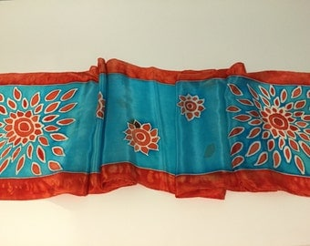 Hand painted silk scarf,  turquoise & poppy red - Starburst