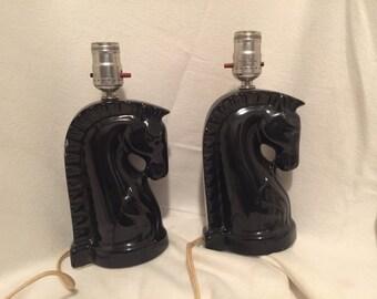 Vintage Black Horse Lamps