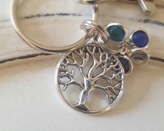 Family tree, birthstone keychain