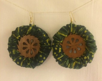 Printed fabric and wood dangle earrings