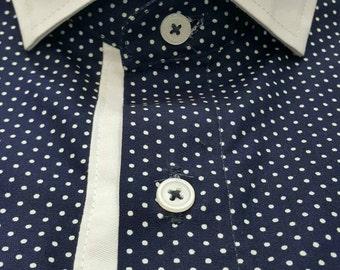 Men Polka Dot Shirt  Blue with White Button Down Casual