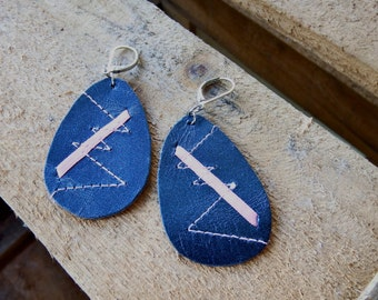 leather earrings oval, earrings leather, blue, with rose satin ribbon and topstitching