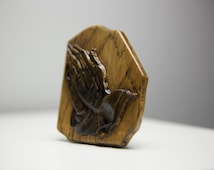 Wood Hands in Prayer Oak painted in the color of ebony wood