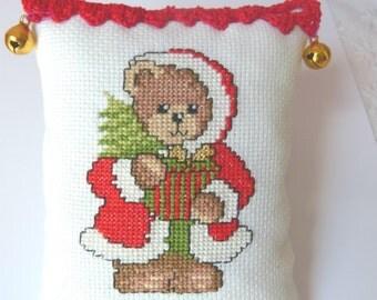 Cross Stitch Bear, Christmas Ornament, Bear christmas decor, Christmas Home Decor, Christmas gift, Bear  Christmas  Ornament