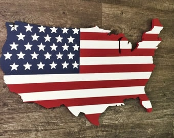 """United States Flag Map 24""""x14"""", USA American Flag Map, Rustic US Map Art, Wooden Patriotic American Flag"""