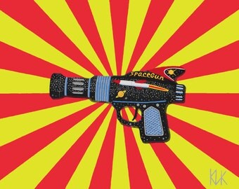Art print of a painting of a Raygun.