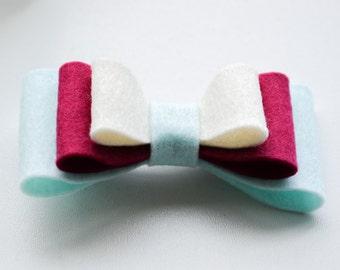 L O L A B O W • 100% Wool felt bow attached to headband/hairclip - babyshower/birthday/newborn present