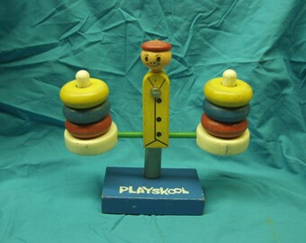 Vintage Wooden PlaySkool Balance Scale Toy