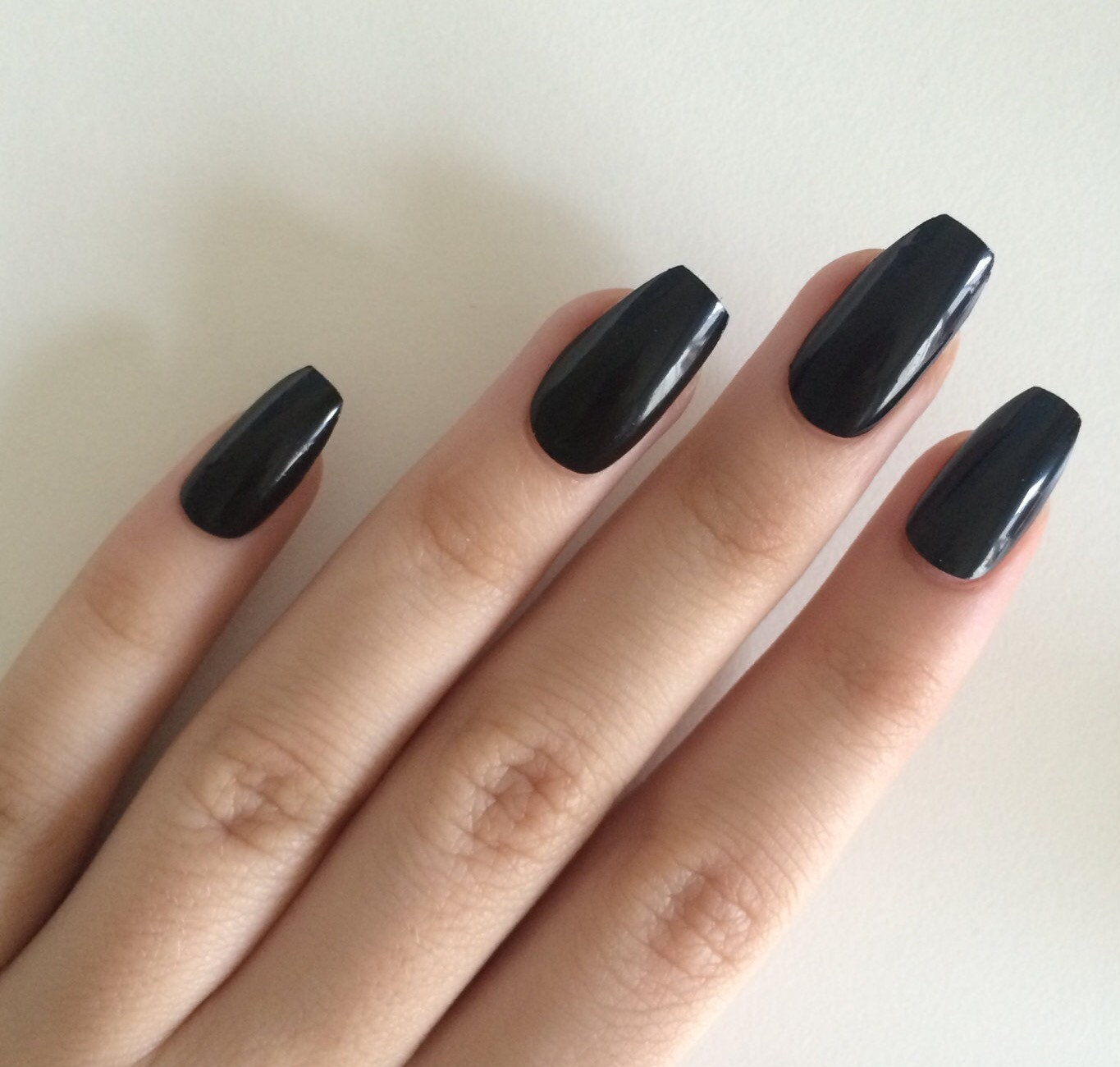 Gloss black coffin nails hand painted acrylic nails fake