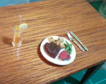Dollhouse Miniature steak dinner- polymer clay