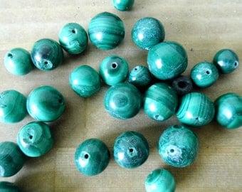 Malachite Beads - Assorted Sizes - Lot of 10