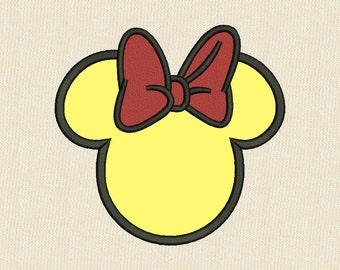 Minnie Mouse Head APPLIQUE Embroidery Design Disney 3 Sizes