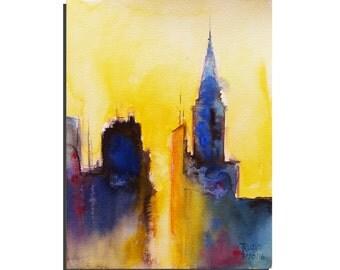"Abstract City 10""X8"" Original Watercolor painting by Tatjana Ruzin Original Painting Abstract Landscape Painting Original Art, Birthday Gift"