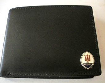 Maserati Black Italian Leather Men's Bifold Wallet