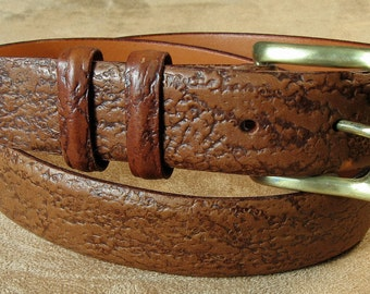 Men's Tan Leather Belt 34 Inch Made in USA